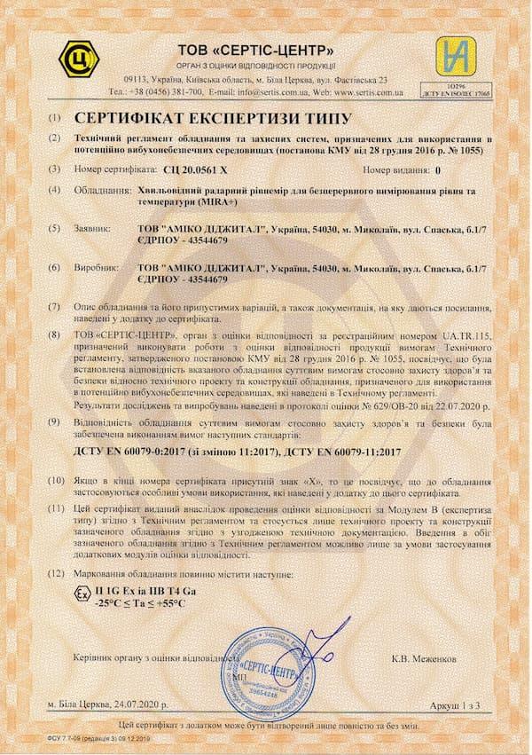Отримано сертифікат експертизи типу для рівнемірів серії MIRA+™ (Модуль B, вибухозахист)