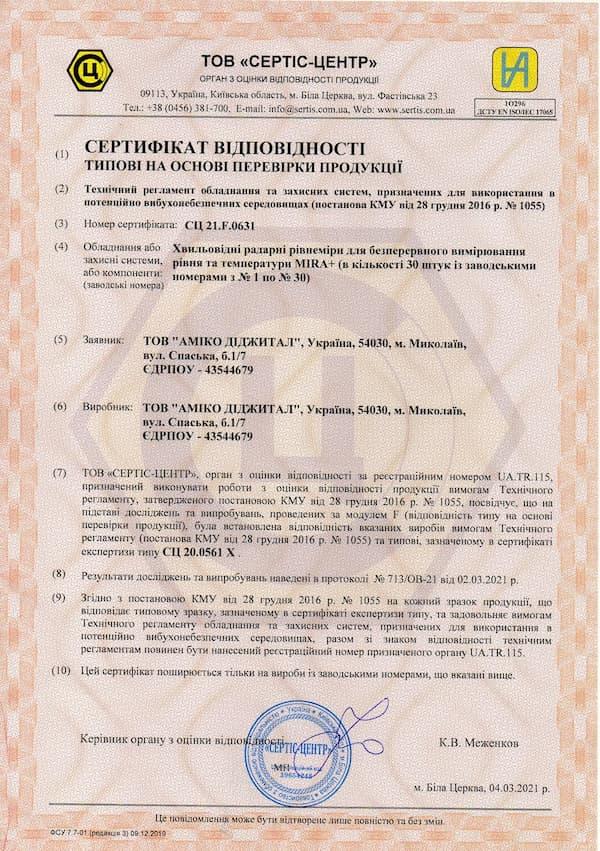 Отримано сертифікат відповідності на партію рівнемірів MIRA+™